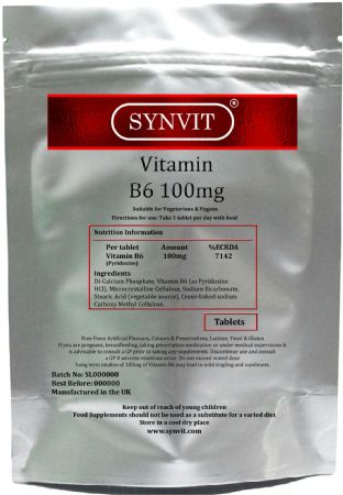 SYNVIT® Vitamin B6 100mg high strength